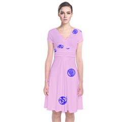 Star Space Balloon Moon Blue Pink Circle Round Polkadot Short Sleeve Front Wrap Dress by Mariart