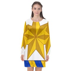 Star Yellow Blue Long Sleeve Chiffon Shift Dress  by Mariart
