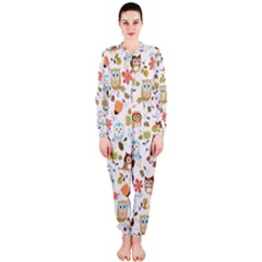 Cute Owl Onepiece Jumpsuit (ladies)  by Nexatart