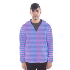 Turquoise Pink Stripe Light Blue Hooded Wind Breaker (men)