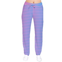 Turquoise Pink Stripe Light Blue Drawstring Pants