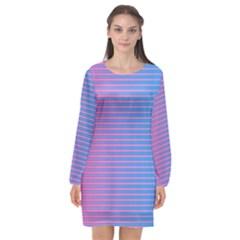 Turquoise Pink Stripe Light Blue Long Sleeve Chiffon Shift Dress