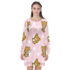 Kawaii Bear Pattern Long Sleeve Chiffon Shift Dress  by Nexatart