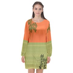 Sunset Orange Green Tree Sun Red Polka Long Sleeve Chiffon Shift Dress  by Mariart