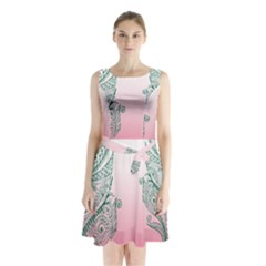 Toggle The Widget Bar Leaf Green Pink Sleeveless Waist Tie Chiffon Dress by Mariart
