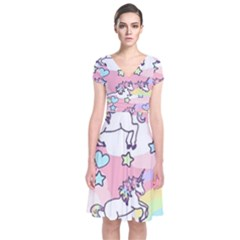 Unicorn Rainbow Short Sleeve Front Wrap Dress by Nexatart