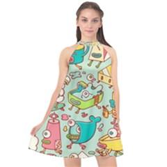 Summer Up Pattern Halter Neckline Chiffon Dress  by Nexatart