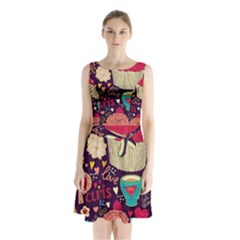 Cute Colorful Doodles Colorful Cute Doodle Paris Sleeveless Waist Tie Chiffon Dress by Nexatart