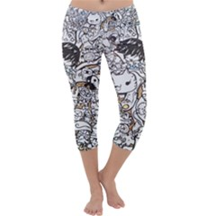 Cute Doodles Capri Yoga Leggings by Nexatart