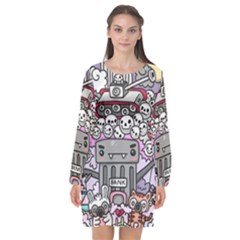 0 Sad War Kawaii Doodle Long Sleeve Chiffon Shift Dress  by Nexatart