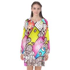 Beautiful Colorful Doodle Long Sleeve Chiffon Shift Dress  by Nexatart