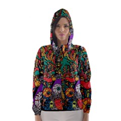 Monsters Colorful Doodle Hooded Wind Breaker (women) by Nexatart