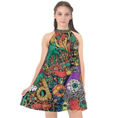 Monsters Colorful Doodle Halter Neckline Chiffon Dress  by Nexatart