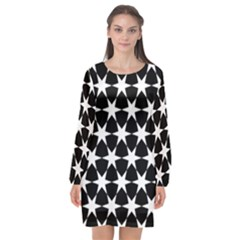 Star Egypt Pattern Long Sleeve Chiffon Shift Dress  by Nexatart