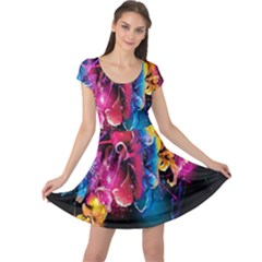 Abstract Patterns Lines Colors Flowers Floral Butterfly Cap Sleeve Dresses