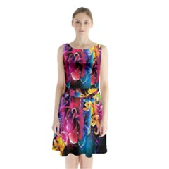 Abstract Patterns Lines Colors Flowers Floral Butterfly Sleeveless Waist Tie Chiffon Dress by Mariart