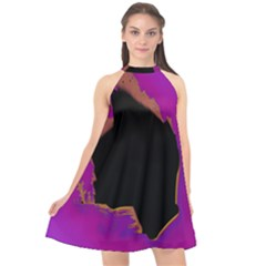 Buffalo Fractal Black Purple Space Halter Neckline Chiffon Dress