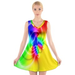 Complex Orange Red Pink Hole Yellow Green Blue V Neck Sleeveless Skater Dress