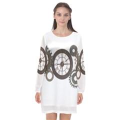 Hour Time Iron Long Sleeve Chiffon Shift Dress
