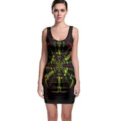 Inner Peace Star Space Rainbow Sleeveless Bodycon Dress