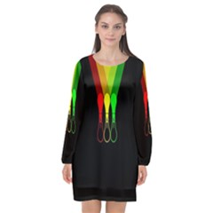 Lamp Colors Green Yellow Red Black Long Sleeve Chiffon Shift Dress  by Mariart
