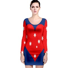 Love Heart Star Circle Polka Moon Red Blue White Long Sleeve Bodycon Dress