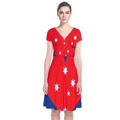 Love Heart Star Circle Polka Moon Red Blue White Short Sleeve Front Wrap Dress by Mariart
