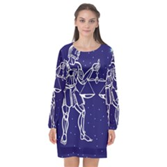 Libra Zodiac Star Long Sleeve Chiffon Shift Dress  by Mariart