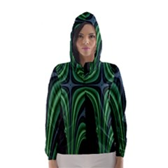 Line Light Star Green Black Space Hooded Wind Breaker (women)