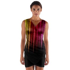 Rain Color Rainbow Line Light Green Red Blue Gold Wrap Front Bodycon Dress