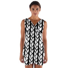 Ropes White Black Line Wrap Front Bodycon Dress by Mariart
