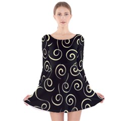Pattern Long Sleeve Velvet Skater Dress by ValentinaDesign