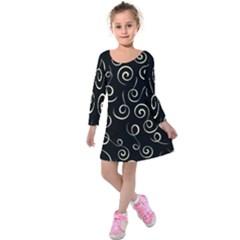 Pattern Kids  Long Sleeve Velvet Dress by ValentinaDesign