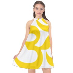 Hindu Om Symbol (yellow) Halter Neckline Chiffon Dress