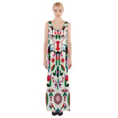 Abstract Peacock Maxi Thigh Split Dress by Nexatart