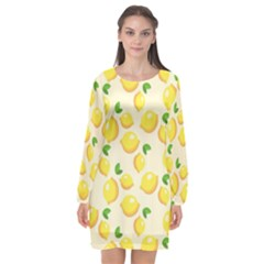 Lemons Pattern Long Sleeve Chiffon Shift Dress  by Nexatart