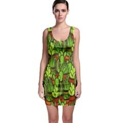Cactus Sleeveless Bodycon Dress by Valentinaart