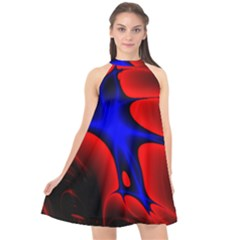 Space Red Blue Black Line Light Halter Neckline Chiffon Dress  by Mariart