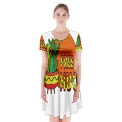 Cactus - Free Hugs Short Sleeve V-neck Flare Dress by Valentinaart