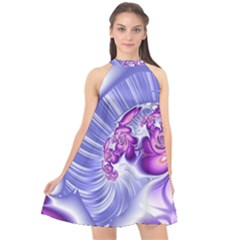 Space Stone Purple Silver Wave Chevron Halter Neckline Chiffon Dress