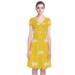 Waveform Disco Wahlin Retina White Yellow Short Sleeve Front Wrap Dress by Mariart