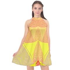 Wave Chevron Plaid Circle Polka Line Light Yellow Red Blue Triangle Halter Neckline Chiffon Dress  by Mariart