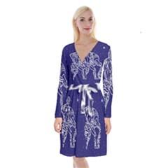 Aquarius Zodiac Star Long Sleeve Velvet Front Wrap Dress by Mariart