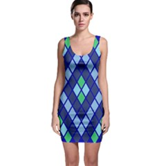 Blue Diamonds Green Grey Plaid Line Chevron Sleeveless Bodycon Dress by Mariart