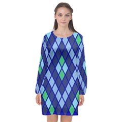 Blue Diamonds Green Grey Plaid Line Chevron Long Sleeve Chiffon Shift Dress