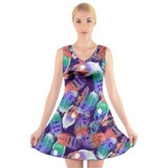 Bird Feathers Color Rainbow Animals Fly V Neck Sleeveless Skater Dress by Mariart
