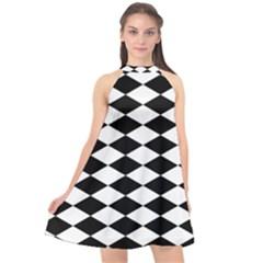 Diamond Black White Plaid Chevron Halter Neckline Chiffon Dress