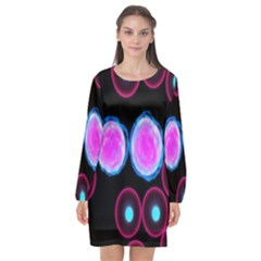 Cell Egg Circle Round Polka Red Purple Blue Light Black Long Sleeve Chiffon Shift Dress  by Mariart