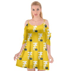 Fog Machine Fogging White Smoke Yellow Cutout Spaghetti Strap Chiffon Dress by Mariart