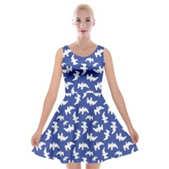 Birds Silhouette Pattern Velvet Skater Dress by dflcprintsclothing